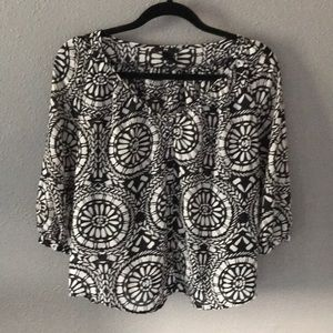 Black and white H&M sheer blouse size 2
